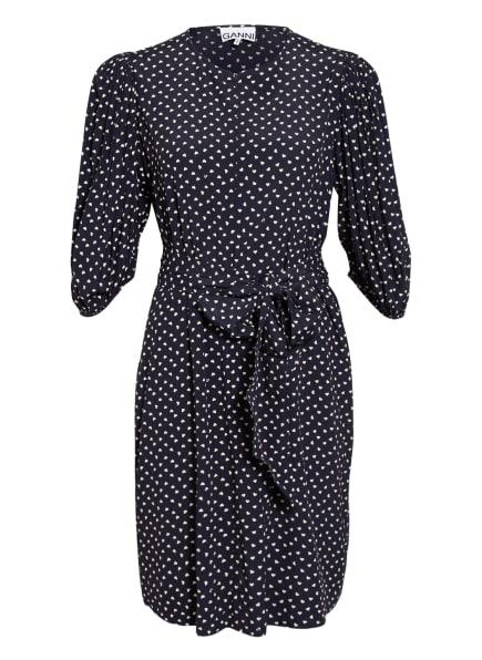 GANNI Kleid mit 3/4-Arm, Farbe: DUNKELBLAU/ WEISS (Bild 1)