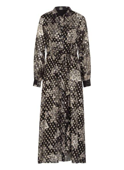 Mrs & HUGS Hemdblusenkleid mit Glitzergarnen, Farbe: SCHWARZ/ GOLD/ CREME (Bild 1)