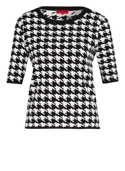 HUGO Kurzarm-Pullover SALMY, Farbe: SCHWARZ/ WEISS (Bild 1)