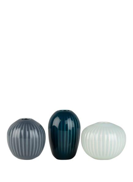 KÄHLER 3er-Set Vasen HAMMERSHØI, Farbe: PETROL/ BLAUGRAU/ MINT (Bild 1)