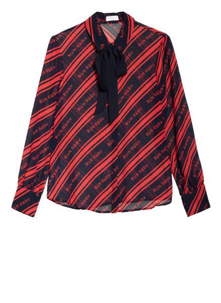 CLAUDIE PIERLOT Bluse CARLOTTA mit abnehmbarer Schluppe, Farbe: DUNKELBLAU/ ROT (Bild 1)