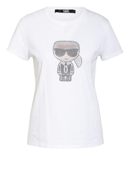 KARL LAGERFELD T-Shirt mit Schmucksteinbesatz, Farbe: WEISS (Bild 1)