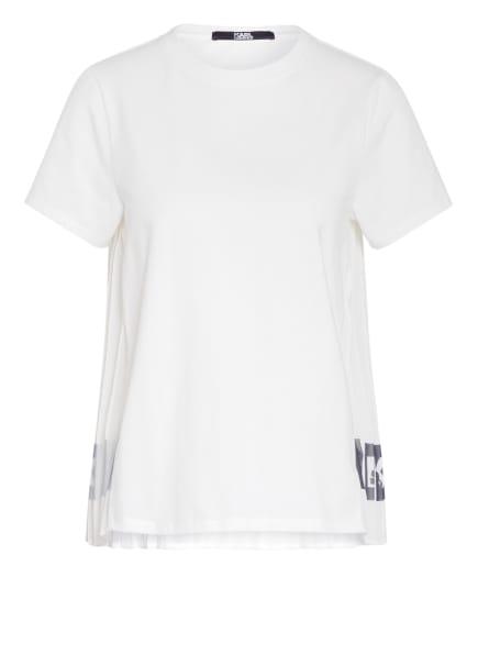KARL T-Shirt im Materialmix, Farbe: WEISS/ SCHWARZ (Bild 1)