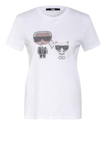 KARL LAGERFELD T-Shirt IKONIK mit Schmucksteinbesatz, Farbe: WEISS/ SCHWARZ/ SILBER (Bild 1)