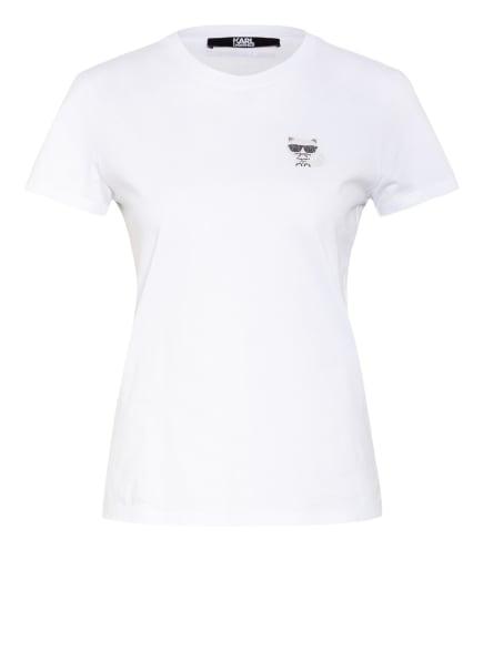 KARL LAGERFELD T-Shirt IKONIK mit Strasssteinbesatz, Farbe: WEISS (Bild 1)