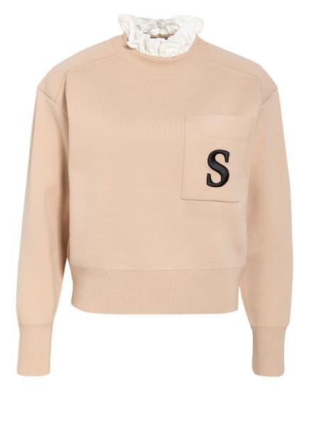 sandro Pullover, Farbe: BEIGE/ WEISS (Bild 1)