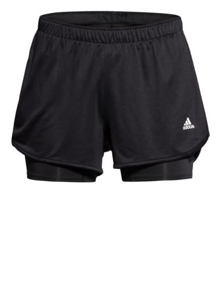 adidas Laufshorts MARATHON 20 TWO-IN-ONE, Farbe: SCHWARZ/ WEISS (Bild 1)