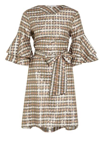 MUNTHE Kleid OLIVIA mit Glitzergarn , Farbe: GOLD/ WEISS/ BEIGE (Bild 1)