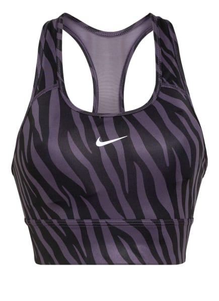 Nike Sport-BH SWOOSH ICON CLASH mit Mesh-Einsatz , Farbe: SCHWARZ/ DUNKELLILA (Bild 1)