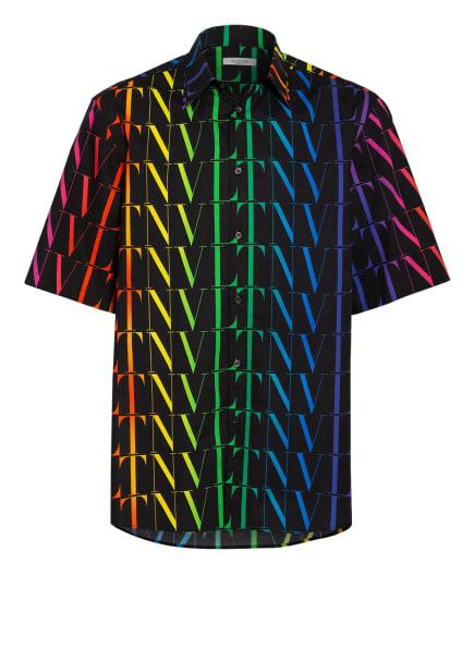 VALENTINO Oversized-Halbarm-Hemd RAINBOW VLTN, Farbe: SCHWARZ/ GELB/ PINK (Bild 1)