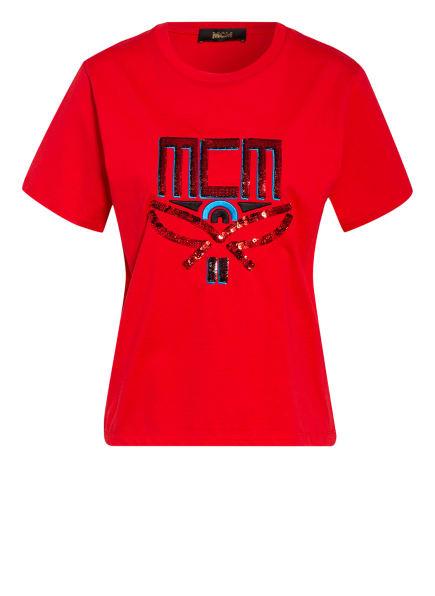 MCM T-Shirt mit Paillettenbesatz, Farbe: ROT (Bild 1)