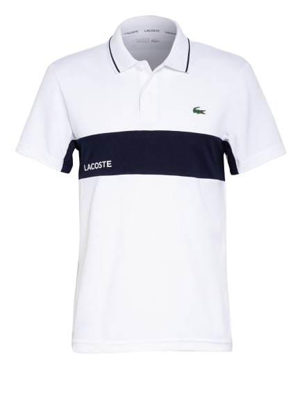 LACOSTE Funktions-Poloshirt, Farbe: WEISS/ DUNKELBLAU (Bild 1)