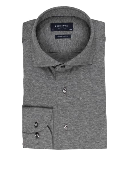 PROFUOMO Jerseyhemd THE KNITTED SHIRT Slim Fit, Farbe: GRAU (Bild 1)