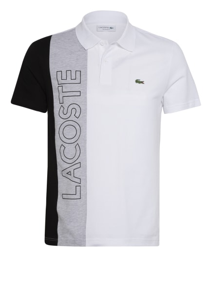 LACOSTE Piqué-Poloshirt Regular Fit, Farbe: WEISS/ HELLGRAU/ SCHWARZ (Bild 1)