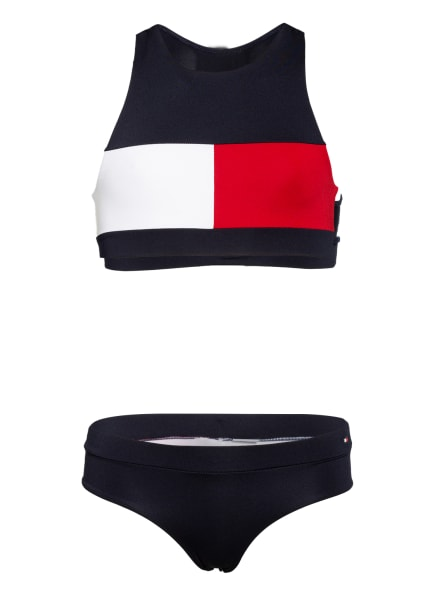TOMMY HILFIGER Bustier-Bikini, Farbe: DUNKELBLAU/ ROT/ WEISS (Bild 1)
