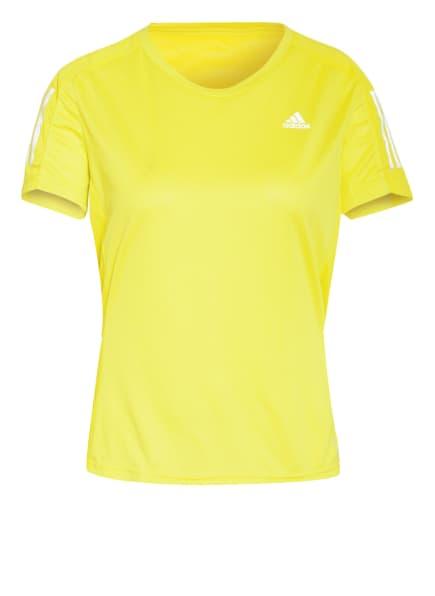 adidas Laufshirt OWN THE RUN mit Mesh-Einsätzen, Farbe: NEONGELB (Bild 1)