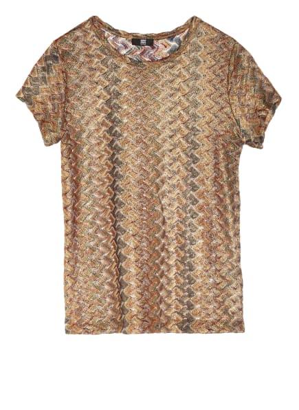 RIANI Strickshirt mit Glitzergarn , Farbe: GOLD/ PETROL/ DUNKELROT (Bild 1)