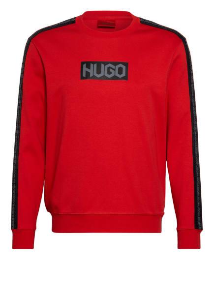 HUGO Sweatshirt DUBESHI mit Galonstreifen, Farbe: ROT/ SCHWARZ (Bild 1)
