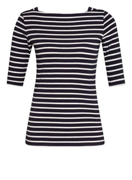 comma Shirt mit 3/4-Arm, Farbe: DUNKELBLAU/ WEISS (Bild 1)