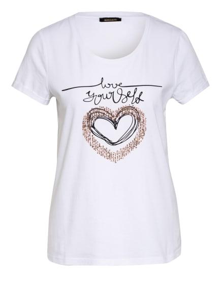 MORE & MORE T-Shirt mit Paillettenbesatz, Farbe: WEISS/ SCHWARZ/ GOLD (Bild 1)