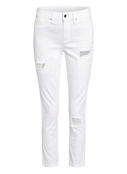Joseph Ribkoff 7/8-Jeans mit Schmuckstein- und Paillettenbesatz, Farbe: 12 WEISS (Bild 1)