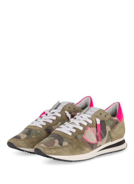 PHILIPPE MODEL Sneaker TRPX CAMOUFLAGE, Farbe: OLIV/ BEIGE/ NEONPINK (Bild 1)