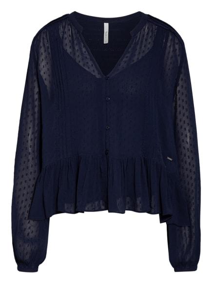 Pepe Jeans Bluse ARVANA mit Rüschenbesatz, Farbe: DUNKELBLAU (Bild 1)