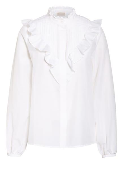 Mrs & HUGS Bluse mit Seide und  Rüschenbesatz, Farbe: WEISS (Bild 1)