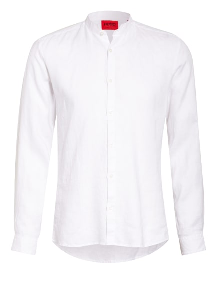 HUGO Leinenhemd ELVORINI Extra Slim Fit mit Stehkragen, Farbe: WEISS (Bild 1)