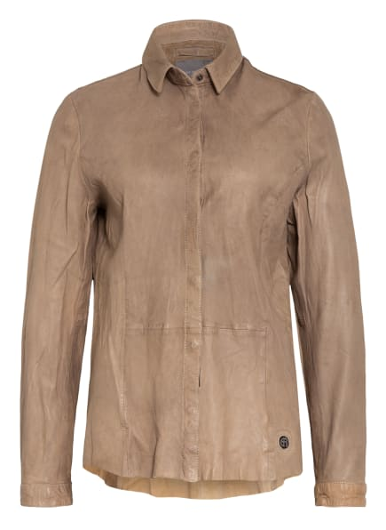 ER ELIAS RUMELIS Hemdbluse ERTARA aus Leder, Farbe: 434 TAUPE (Bild 1)