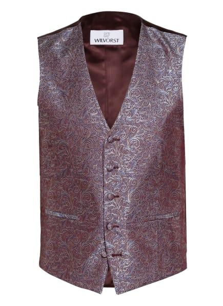 WILVORST Anzugweste Extra Slim Fit, Farbe: DUNKELROT/ HELLBLAU/ HELLGRAU (Bild 1)