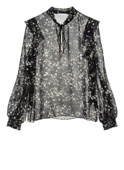 PATRIZIA PEPE Bluse mit Volantbesatz, Farbe: SCHWARZ/ WEISS/ GRÜN (Bild 1)