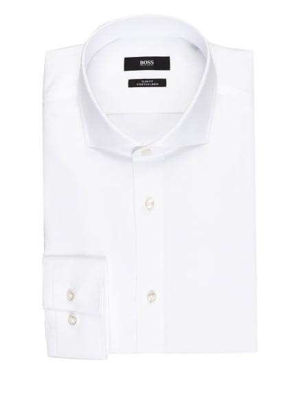 BOSS Piqué-Hemd JASON Slim Fit mit Leinen, Farbe: WEISS (Bild 1)