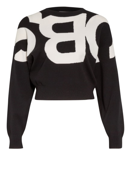 SEE BY CHLOÉ Cropped-Pullover, Farbe: SCHWARZ/ WEISS (Bild 1)