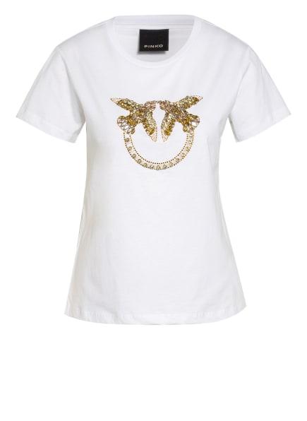 PINKO T-Shirt QUENTIN mit Schmucksteinbesatz, Farbe: WEISS (Bild 1)