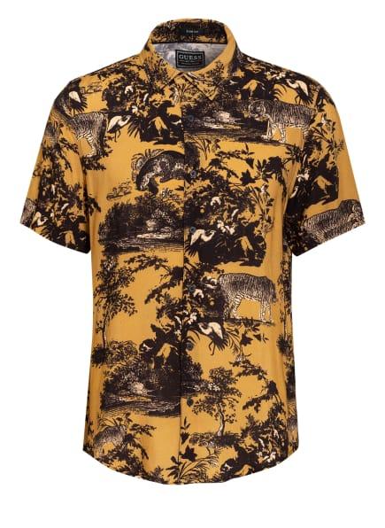 GUESS Kurzarm-Hemd Comfort Fit , Farbe: SCHWARZ/ CAMEL (Bild 1)