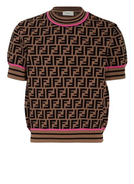 FENDI Strickshirt, Farbe: BRAUN/ SCHWARZ/ NEONPINK (Bild 1)