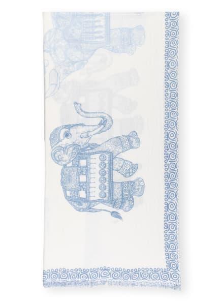 HEMISPHERE Cashmere-Schal DUMBOS mit Seide, Farbe: ECRU/ BLAU (Bild 1)