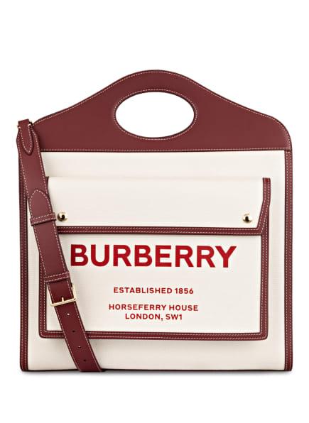 BURBERRY Handtasche POCKET MEDIUM, Farbe: ECRU/ DUNKELROT (Bild 1)