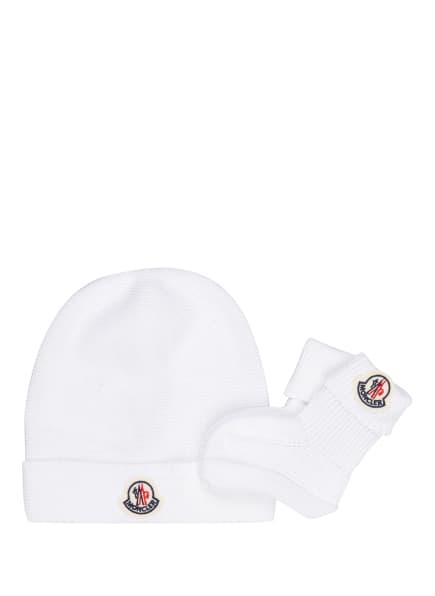 MONCLER enfant Set: Mütze und Socken, Farbe: WEISS (Bild 1)