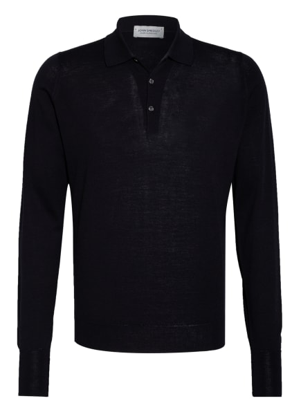 JOHN SMEDLEY Pullover mit Polokragen, Farbe: DUNKELBLAU (Bild 1)