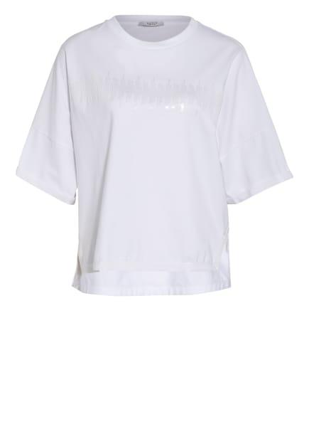 PESERICO T-Shirt mit Paillettenbesatz, Farbe: WEISS (Bild 1)