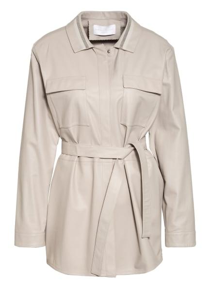 FABIANA FILIPPI Overshirt aus Leder mit Schmucksteinbesatz, Farbe: CREME (Bild 1)