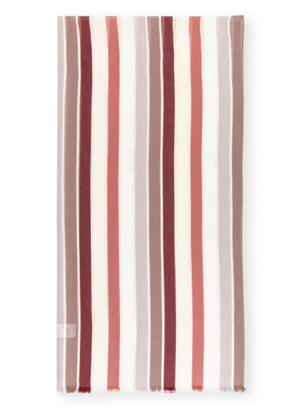 FABIANA FILIPPI Schal mit Glanzgarn, Farbe: DUNKELROT/ ECRU/ SILBER (Bild 1)