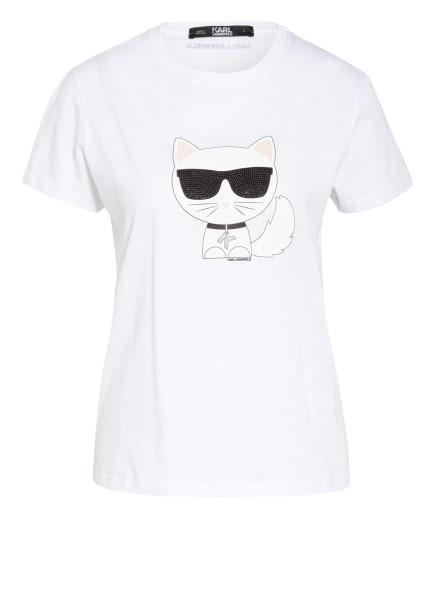 KARL LAGERFELD T-Shirt IKONIK CHOUPETTE mit Schmucksteinbesatz, Farbe: WEISS/ SCHWARZ/ NUDE (Bild 1)