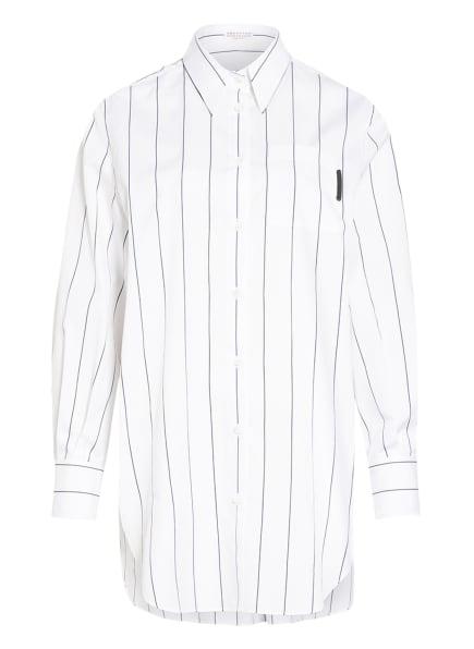 BRUNELLO CUCINELLI Oversized-Hemdbluse , Farbe: WEISS/ SCHWARZ (Bild 1)