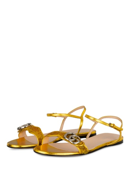 GUCCI Sandalen GG MARMONT mit Paillettenbesatz, Farbe: GOLD (Bild 1)