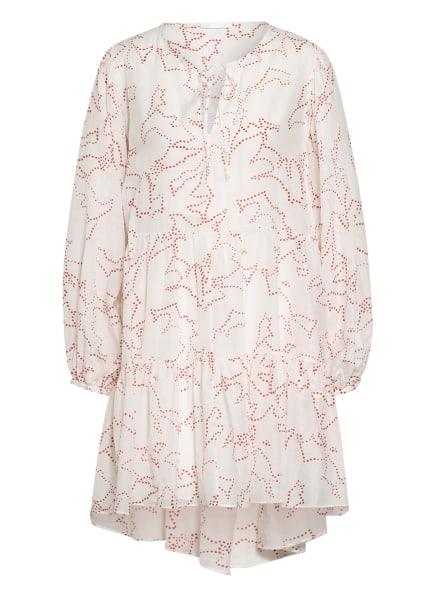 BOSS Kleid DECENTO mit Seide, Farbe: WEISS/ DUNKELROT (Bild 1)