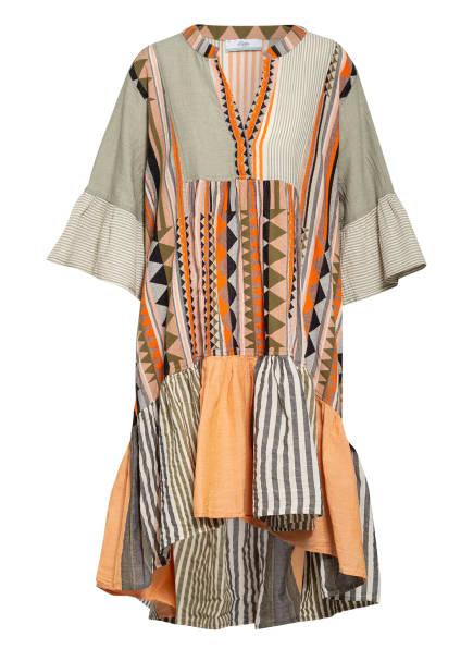 Devotion Kleid mit 3/4-Arm und Volantbesatz, Farbe: ORANGE/ OLIV/ DUNKELBLAU (Bild 1)