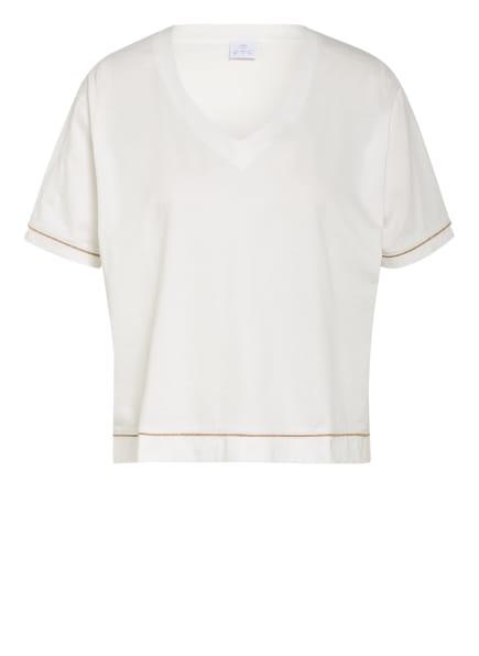 FTC CASHMERE T-Shirt mit Glitzergarn, Farbe: WEISS/ GOLD (Bild 1)